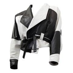 80s Black and White Napa Leather Cropped Jacket