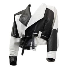 80s Black and White Napa Leather Cropped Jacket