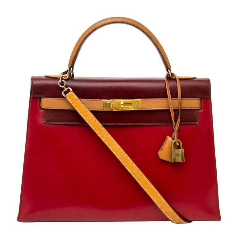 Hermès Kelly 32 Tri Color Box Calf Sellier Vermillion Red, Rouge H & Gold GHW