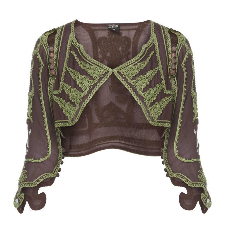 Jean Paul Gaultier brown & green bolero, circa 1997 For Sale