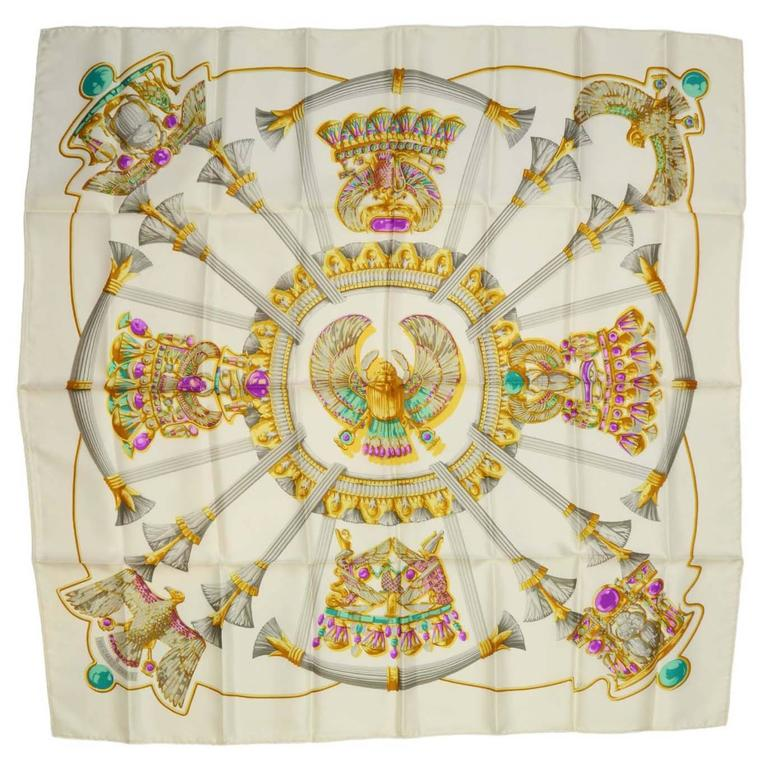Hermes Ivory & Jewel Tone Printed 90cm Silk Scarf For Sale
