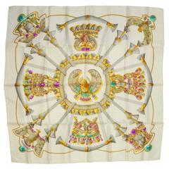 Hermes Ivory & Jewel Tone Printed 90cm Silk Scarf