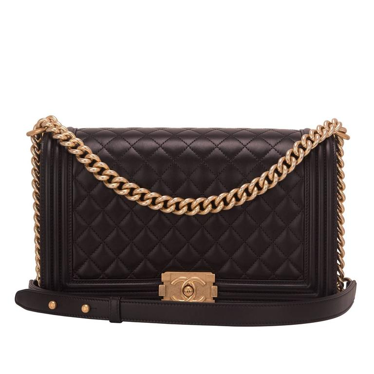 Chanel Black Lambskin New Medium Boy Bag For Sale
