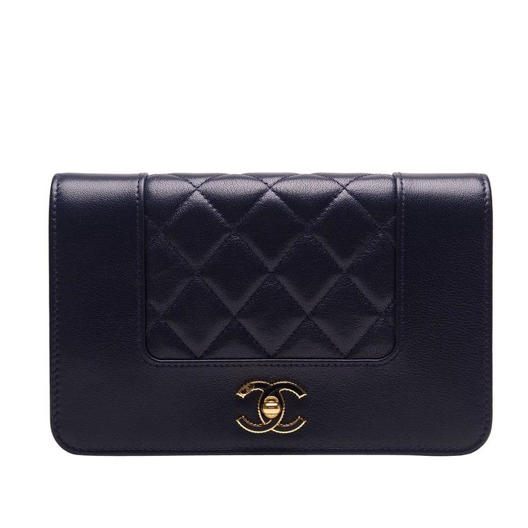 Chanel Navy Leather Mademoselle Vintage Style Wallet On Chain (WOC) For Sale