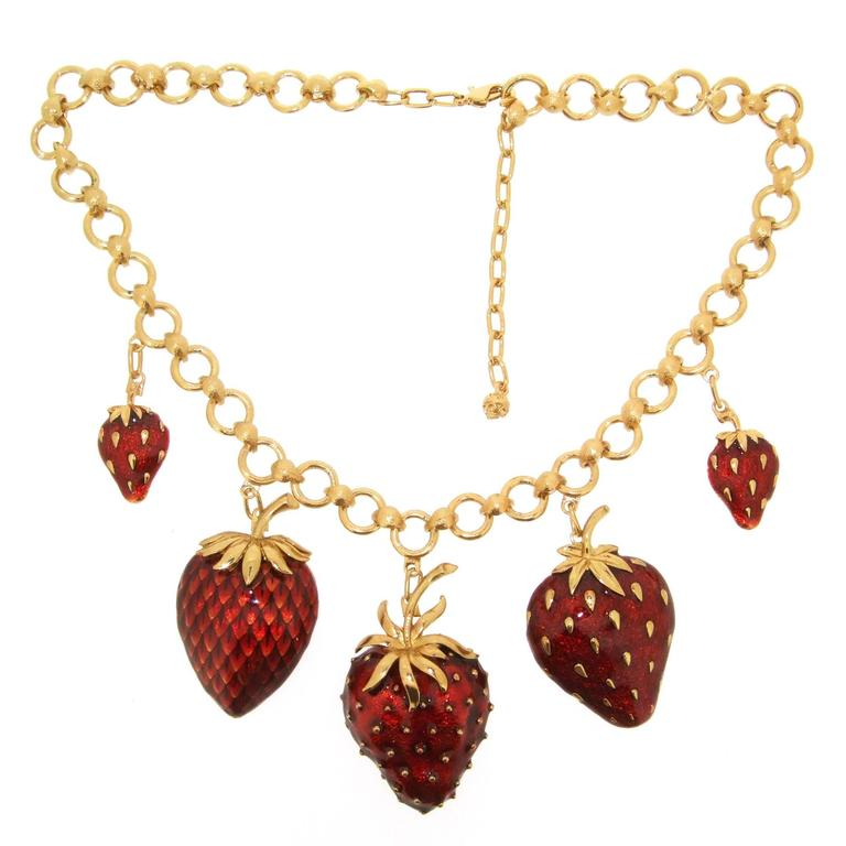 Strawberry Necklace Red Enamel At 1stdibs