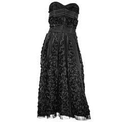 50s Strapless Black Cocktail Dress with Ruffle Trim