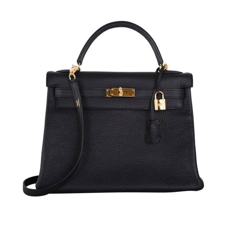 HERMES KELLY BAG 32cm BLACK WITH GOLD HARDWARE TOGO 1