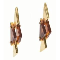 Pair of Tortoise Lucite and Brass Plated Dangle Sculptural Earrings