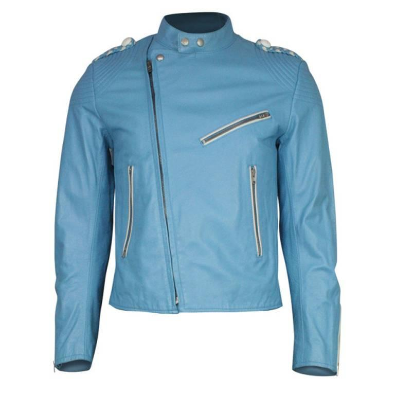 Men's Margiela Sky Blue Leather Jacket For Sale at 1stdibs