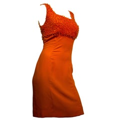 60s Orange Beaded Sheath Dress