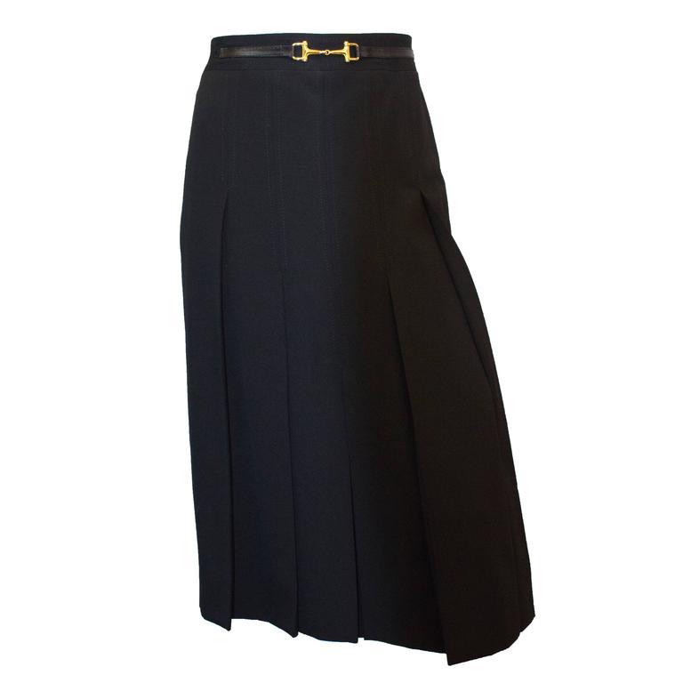 80s Celine knife Pleat Skirt