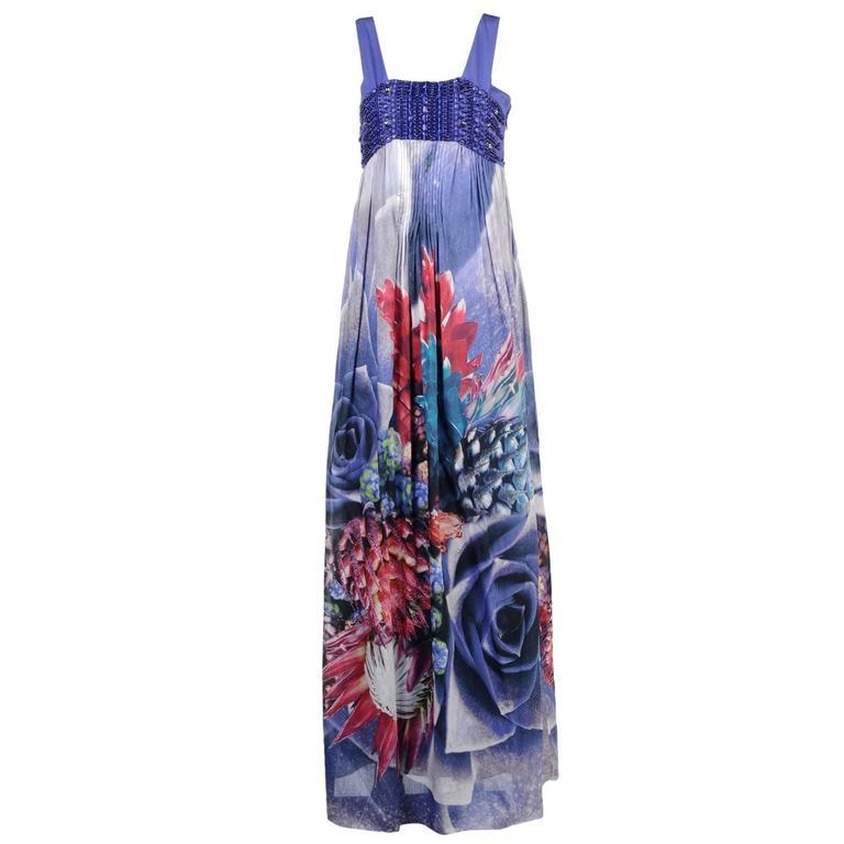 Roberto Cavalli embellished floral print long dress
