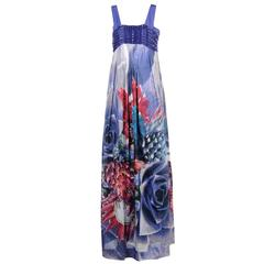 Roberto Cavalli embellished floral print long dress
