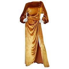 1930s Jean Patou Couture Golden Silk Velvet Wrap Gown
