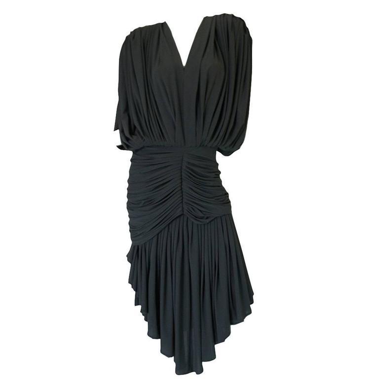 1980s Gray Norma Kamali Jersey Dress & Shawl Set 1