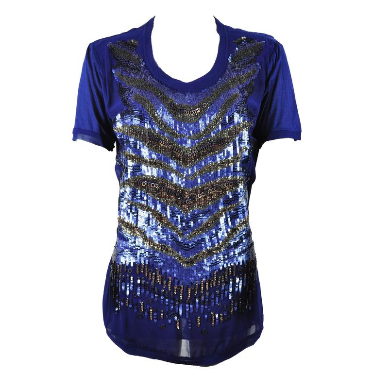 Roberto Sapphire Blue Embellished Top For Sale