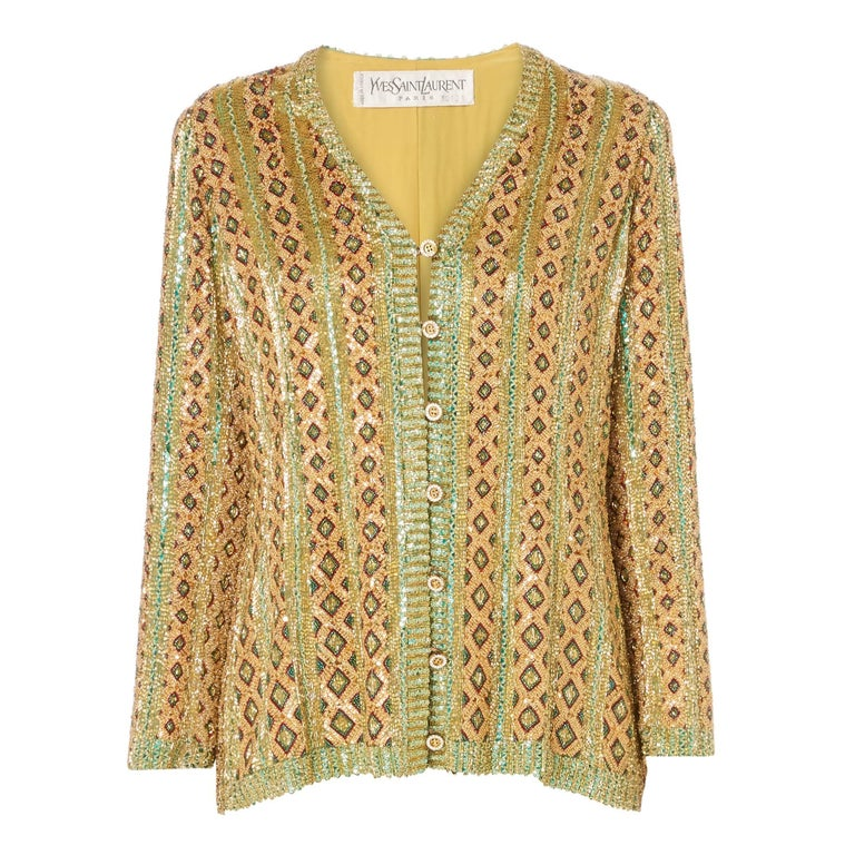 Yves Saint Laurent haute couture gold jacket, Spring/Summer 1973 For Sale