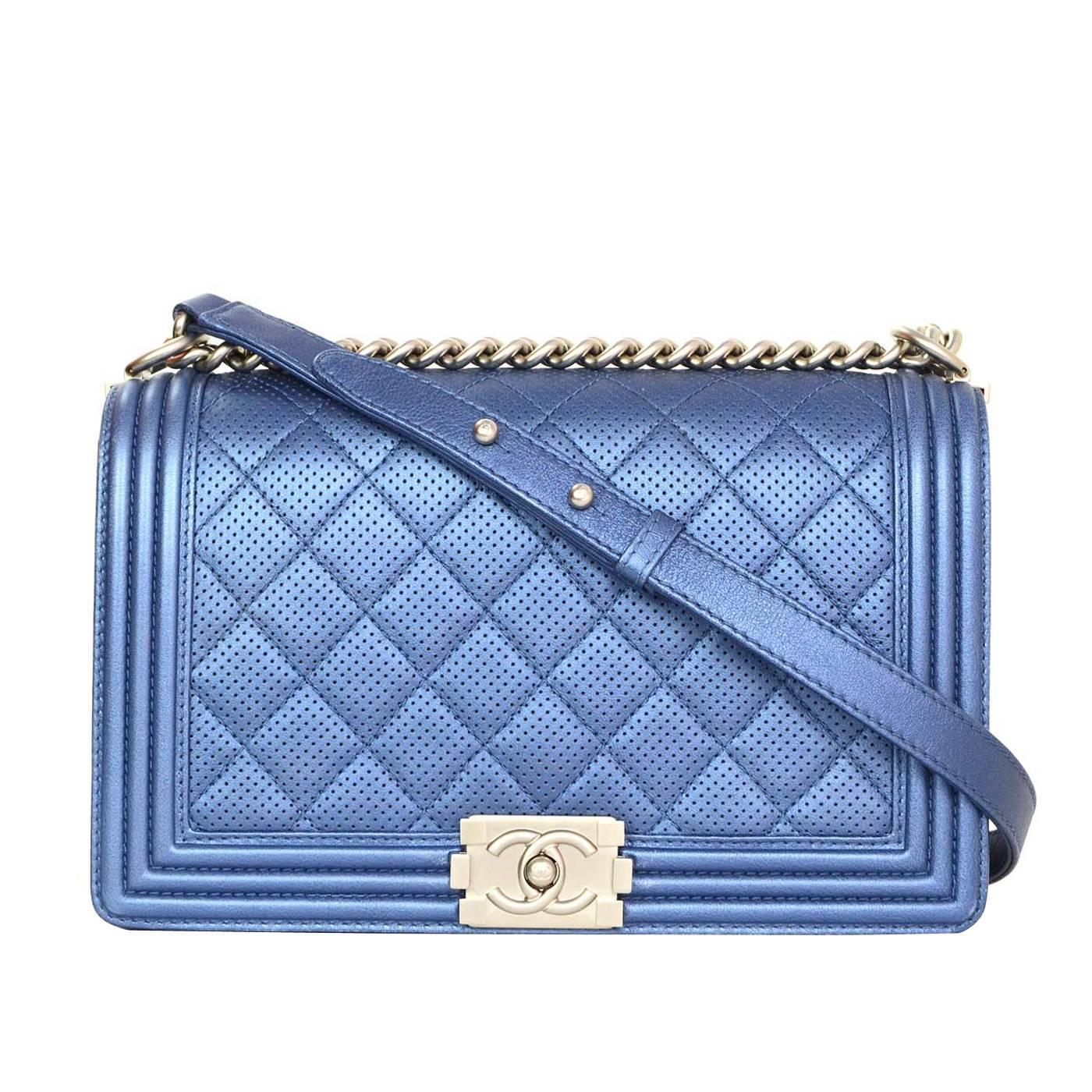 Chanel Metallic Blue Perforated Quilted New Medium Boy Bag