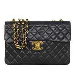 Chanel 1990s Vintage Black Quilted Lambskin Maxi Flap Bag GHW