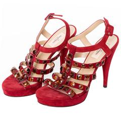 Valentino Red Suede Crystal Studded Platform Sandals