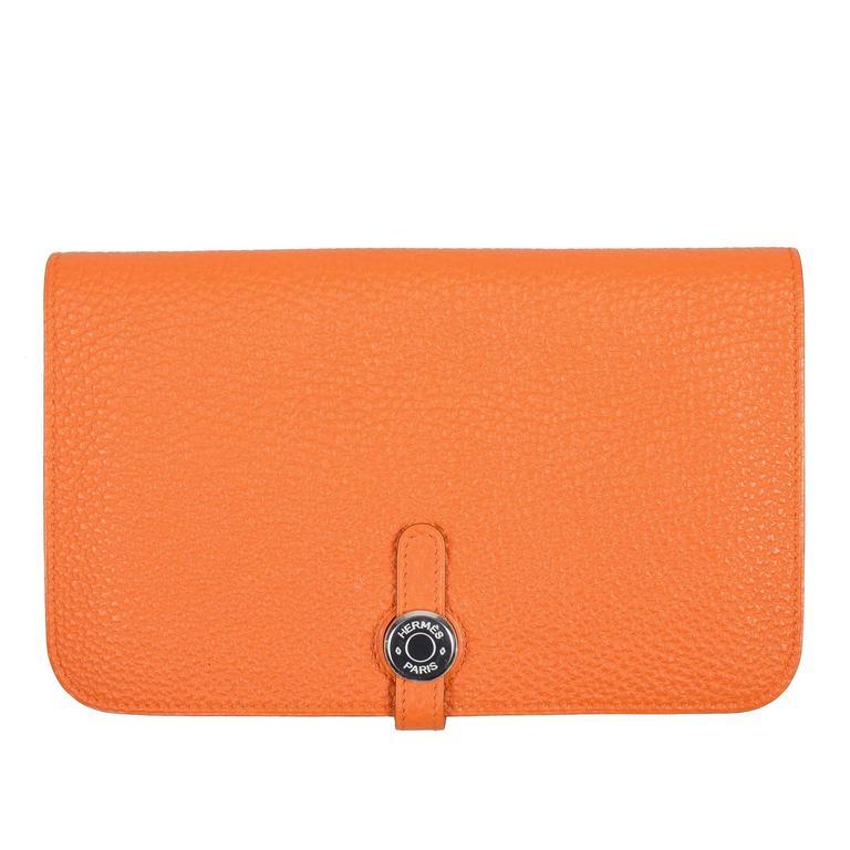 hermes togo  u0026quot capucine orange u0026quot  leather dogon combo wallet at 1stdibs