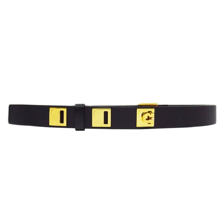 Salvatore Ferragamo Black Leather Skinny Belt with Gold ...