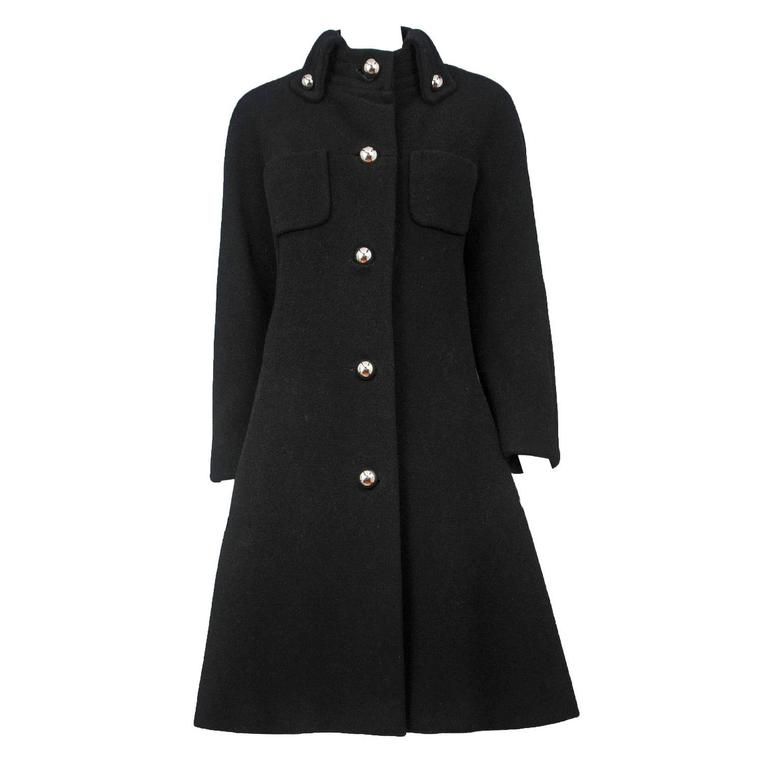 Pierre Cardin Black Wool Coat For Sale