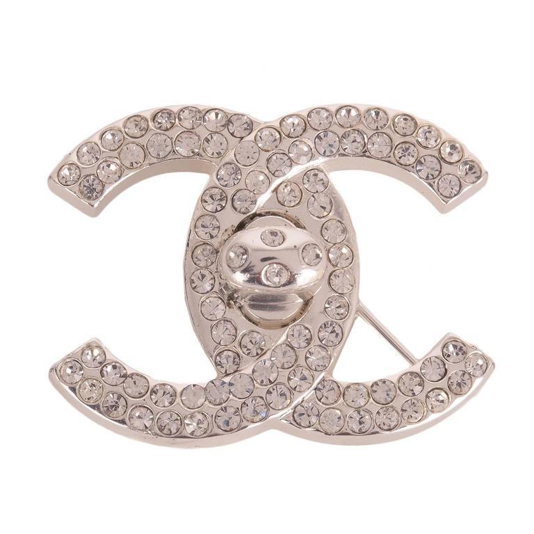 Chanel Vintage CC Logo Turnlock Rhinestone Brooch Pin  For Sale