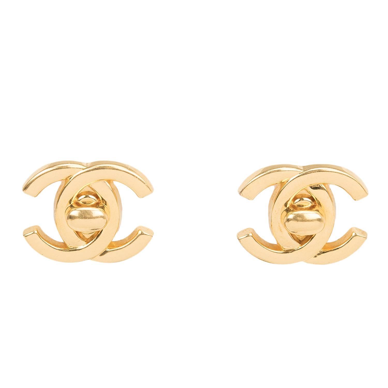chanel vintage cc logo turnlock earrings at 1stdibs