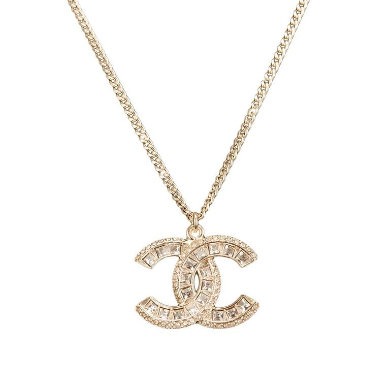 Chanel Swarovski Crystal Logo Pendant Necklace At 1stdibs