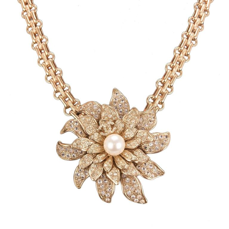 Chanel Gold Crystal and Pearl Camellia Flower Pendant Choker For Sale