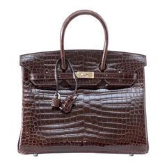 HERMES BIRKIN 35 Bag Chocolate Brown Porosus Crocodile Palladium Very Rare