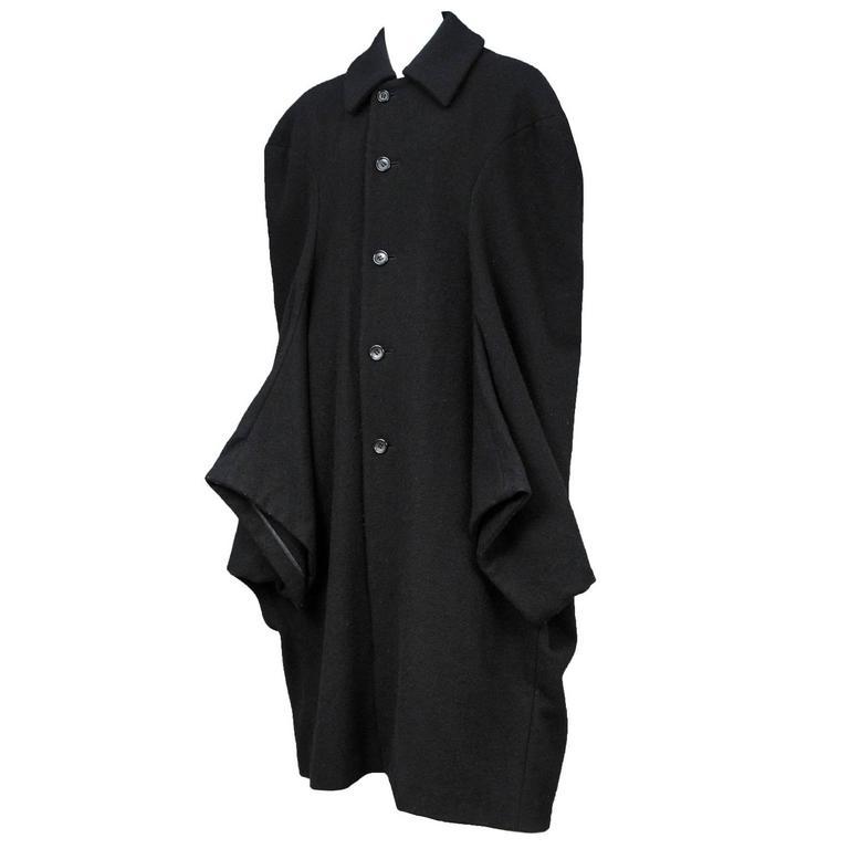 Comme Des Garcons Black Wool Cocoon Coat 1995
