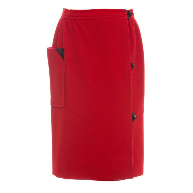 Courreges Red Wool - Cashmere Skirt With Leather Buttons, circa 1970's For Sale