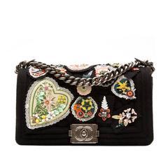 Chanel Floral Applique 'Boy' Shoulder Bag