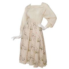 1970s Valentino Cotton  Peasant Dress