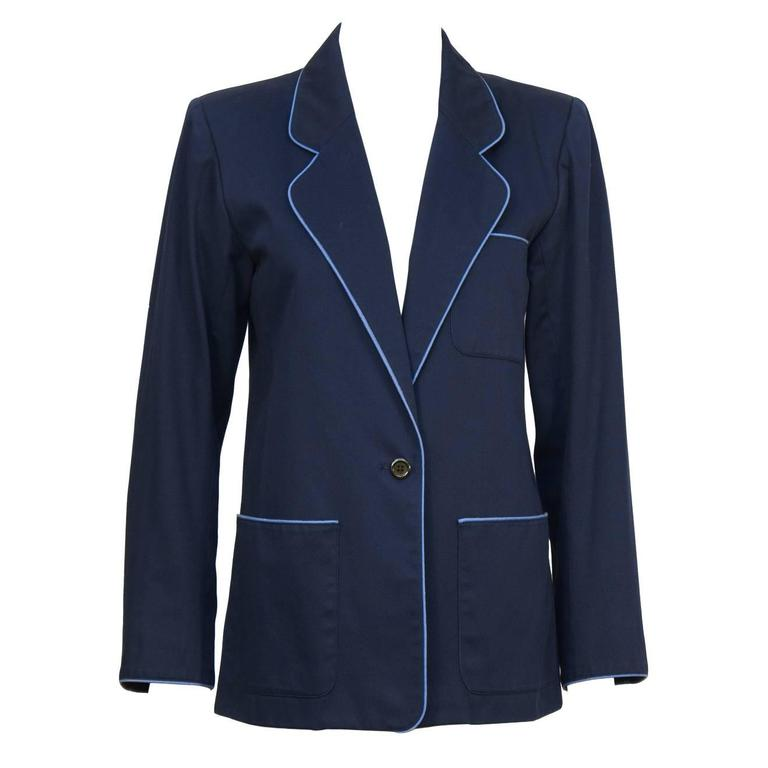 Early 1970's Yves Saint Laurent YSL Navy Cotton Jacket Piped in Blue  For Sale