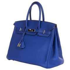 PRISTINE Hermes 35cm 'Bleu Electrique' Togo Birkin Bag with Palladium Hardware