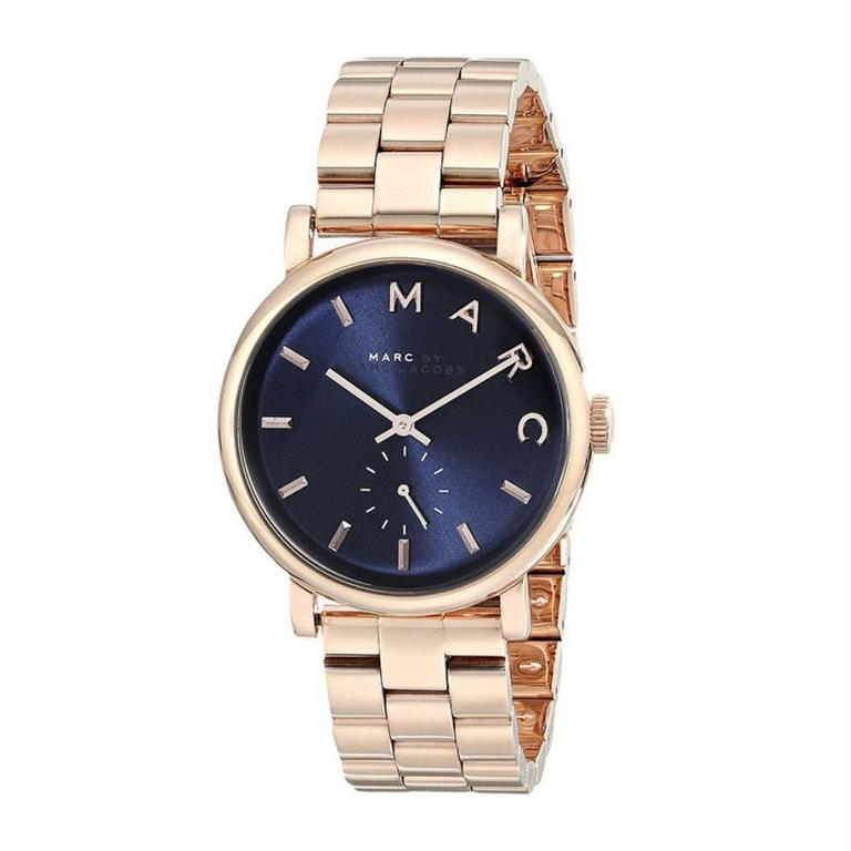 Marc by Marc Jacobs Baker Navy Dial Rose Gold-tone Steel Ladies Watch MBM3330 1