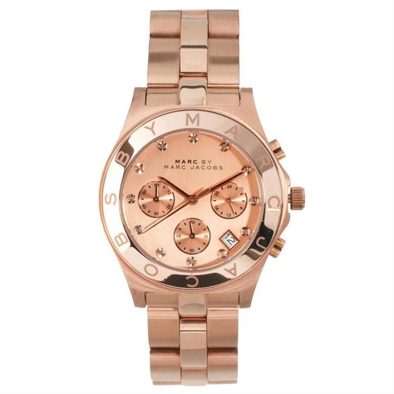 Marc by Marc Jacobs Blade Chronograph Pink Gold Dial Gold-Tone Stainless Steel L 1