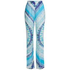 33467feac5ed Stunning Emilio Pucci Blue Signature Print Silk Pants