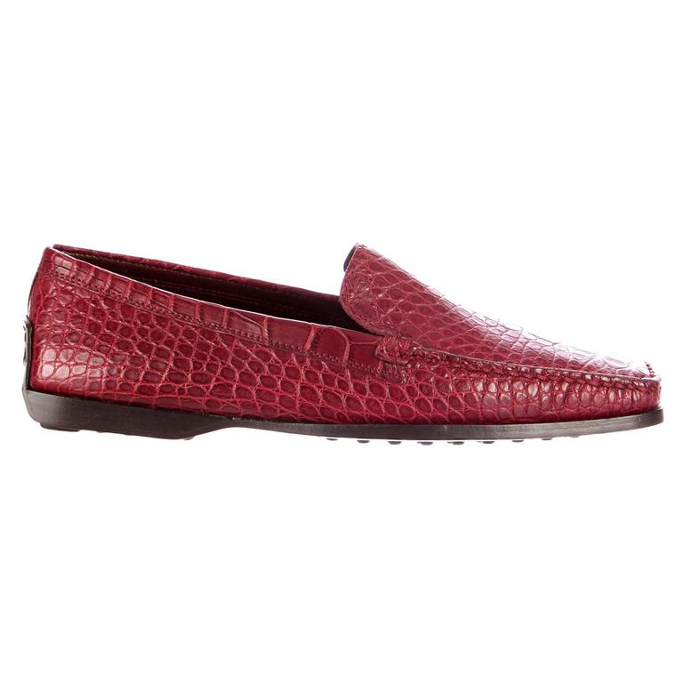 Exotic TOD'S Welted Moccasins Loafers Alligator Crocodile Skin For Sale