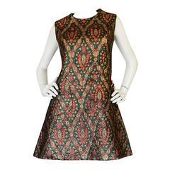 1960s Jean Lutece Metallic Silk Brocade Mini Dress