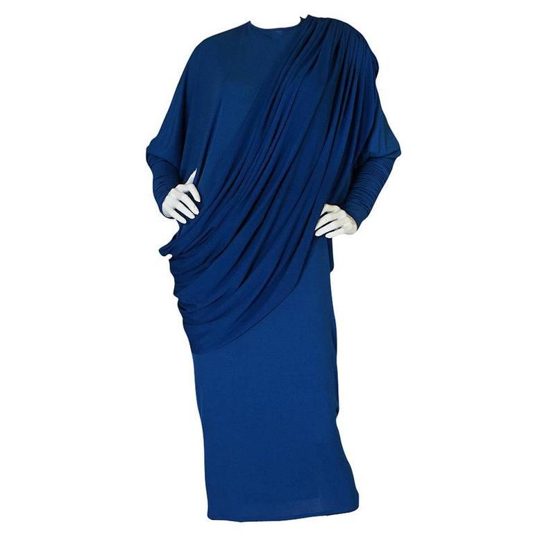 1980s OMO Norma Kamali Jersey Dramatic Sleeved Dress 1