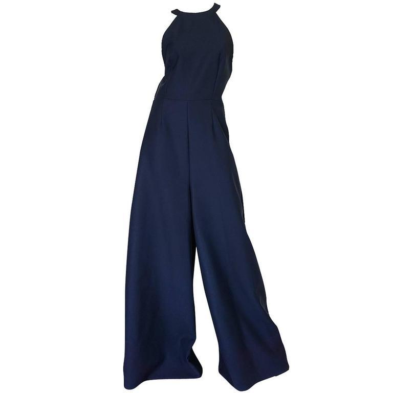 Fall 2014 Navy Rosie Assoulin Cut Out Wide Leg Jumpsuit 1