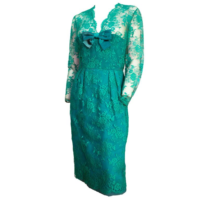 60s Green Lace Illusion Cocktail Dress  For Sale