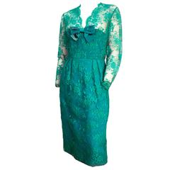 60s Green Lace Illusion Cocktail Dress