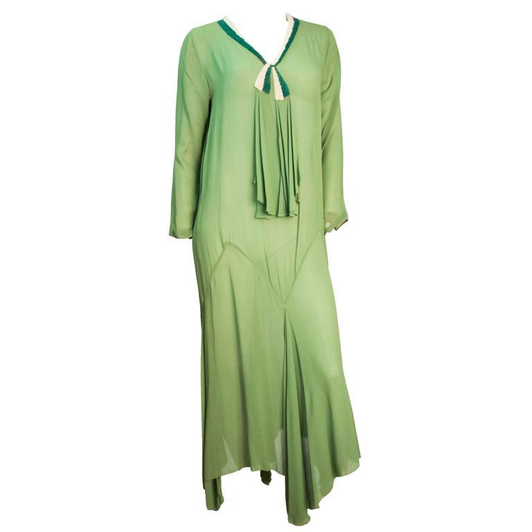 20s Trompe L'oeil Long-sleeved Moss green Chiffon Dress  For Sale