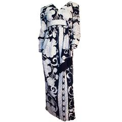 70s Navy & White Fantasy Print Dress