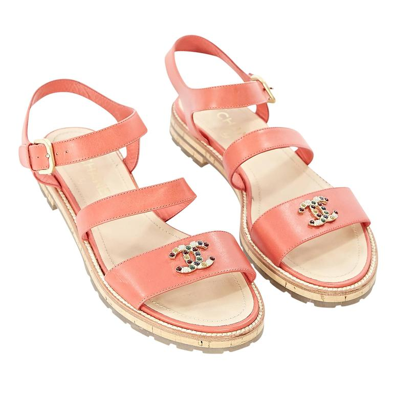 Coral Chanel Leather Flat Sandals 1